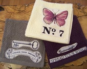 Botanical Butterfly Print Washcloth Set of 3 Wing Study in Cream, Plum Purple, and Charcoal Grey