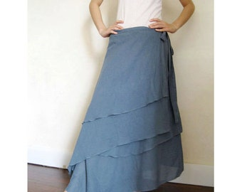 Custom Made Blue Koi Cotton Boho Hippie Two Layers Circle Wrap Skirt  (H)