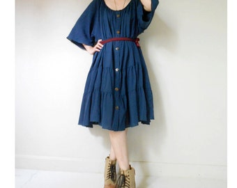 Custom Made Dark Blue Cotton Loose Patchwork  Tunic Dress s-L  (H)
