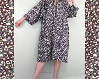 Sale Brown Cream  Floral Sweet Boho  Loose Short Tunic Dress S-L (BT 1)