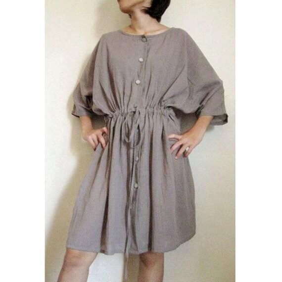 Custom Made Gray cotton Boho Loose  Short Front  Buttons Summer  Dress S-L  (H)