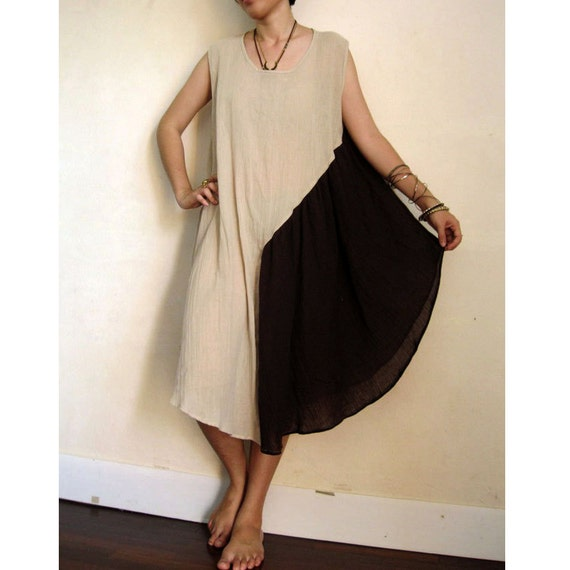 Custom Made Brown Cream Soft Cotton Patchwork Loose  Flare Dress S - XL  (H)