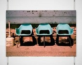 Modern Rustic Print, Train Station Chairs, Montana Photograph, Art Deco Photography, Blue Wall Art, Film Photography, Blue and Brown