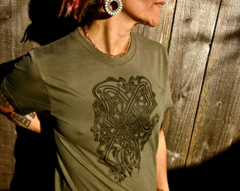 Celtic Armor T-Shirt Made in USA Jersey Cotton Green Brown Shield Creatures Small Only