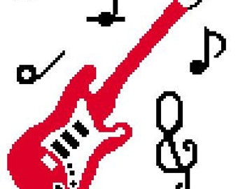 INSTANT DOWNLOAD cross stitch Chella Crochet Baby Size Guitar and Musical Notes Scale Black Red White Afghan Pattern Graph Chart .PDF