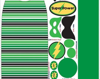 Green Super Hero Fabric Panel