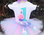 Baby Girl 1st Birthday Tutu Set - Aqua and Pink Tutu Outfit -Cake Smash Photo Prop