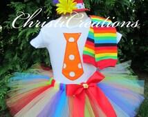 Baby Girl Halloween Costume - Clown Tutu Costume - Rainbow Tutu, Shirt and Top Hat