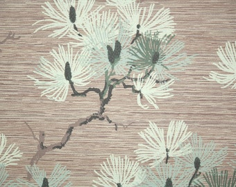 1940s Vintage Wallpaper by the Yard - Pine Branches with Needles on Brown