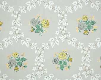 1950's Vintage Wallpaper -Yellow and Gray flowers on Gray