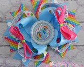 LAST ONE - My Little Pony Rainbow Dash Stacked Boutique Hair Bow