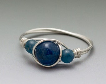 Blue Apatite Sterling Silver Wire Wrapped Ring ANY size