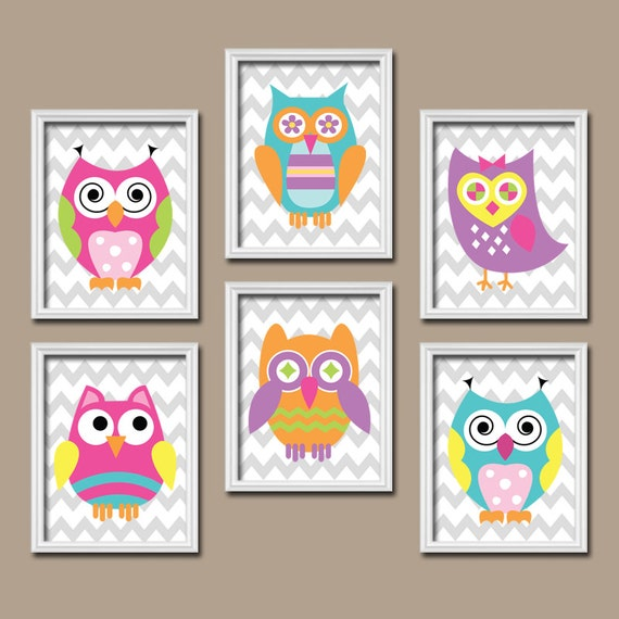 Girl Owl Nursery Owl Wall Art Owl Theme Baby Girl By Trmdesign