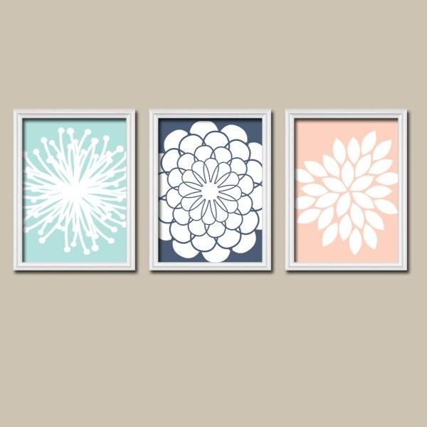 Aqua Navy Peach Wall Art Canvas Or Prints Bathroom By Trmdesign