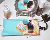 Fabric Flat or Curling Iron Travel Case with Fabric Hair Clip