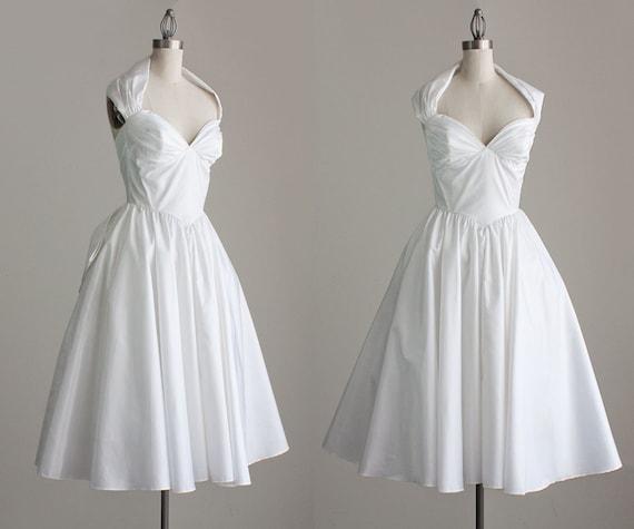 80s Vintage White Halter Marylin Style Tea Length Party Dress