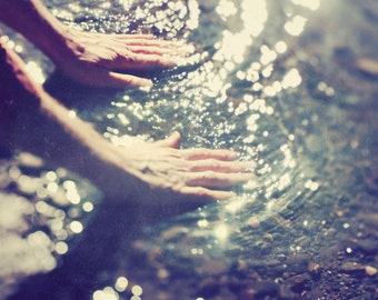 "Ethereal photograph - sparkly water - water ripples - healing hands - sunlight - dreamy - nature photograph ""Healing Water"""