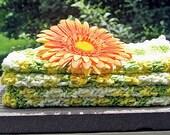 Cotton Crochet Washcloths Dishcloths Handmade - Kitchen Dish Towel -Eco Friendly - Yellow & Green - Total of 4