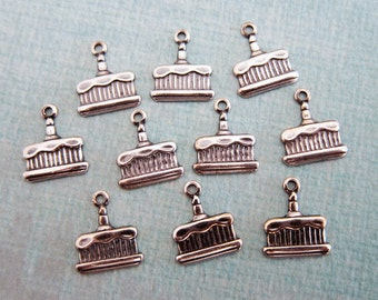 SALE 10 Silver Birthday Cake Charms 135