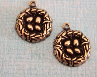 2 Brass Bird Nest Charms 3234B