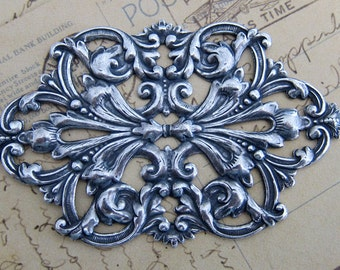 NEW Large Ornate Silver Filigree Finding 3323