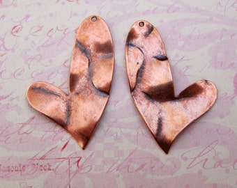 SALE 2 Copper Heart Charms 3417