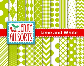 Lime Green Digital Papers in Graphic Patterns - for Scrapbooking, Card Making and Invitations - Instant Download
