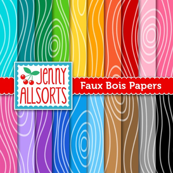 Faux bois wood grain digital scrapbook paper set rainbow - Sticker imitation bois ...