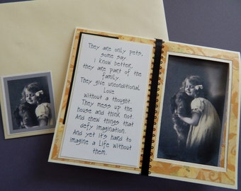 Handmade sympathy card, vintage art, complete inside n out, brown tones,  child and dog, hand cutting, ribbon accents, woman or man,