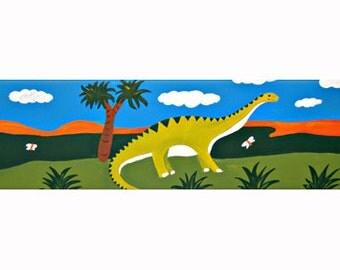 Diplodocus Dinosaur  Canvas / Children's Art / Boys Painting / Nursery Decor