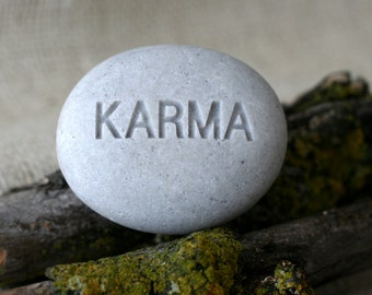 Karma - Engraved Inspirational Word on stone - Ready Gift