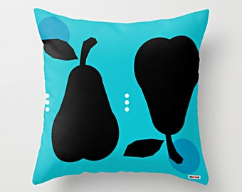 Pears throw pillow cover - Black and Blue pillow cover - Modern pillow cover - scandinavian design