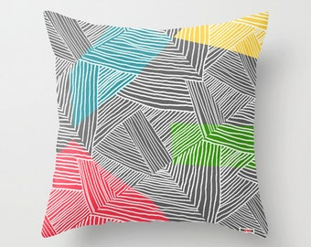Decorative throw pillow cover - White lines pillow cover - Colorful pillow - designer pillow cover - Modern pillow cover