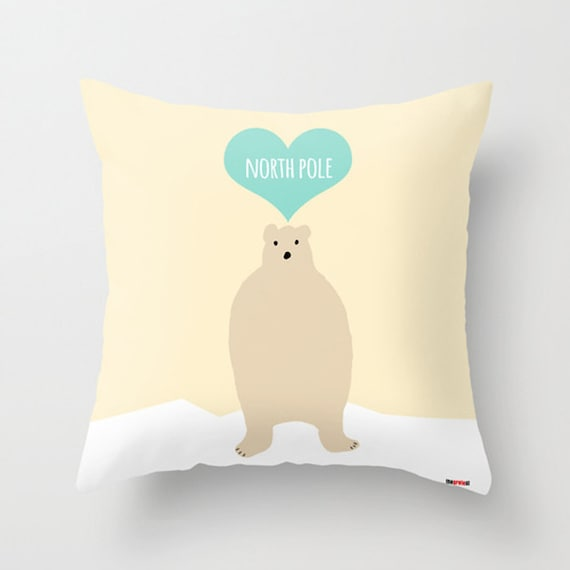 Items similar to Bear Decorative throw pillow cover - North Pole pillow cover - Modern pillow ...