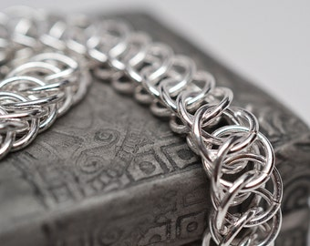 Sterling silver over copper half persian chainmaille bracelet