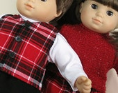 Bitty or Bitty Twin Doll Clothes - Boy Girl Twins Holiday Skirt, Sweater, Pants, Turtleneck, Vest - 5 piece set