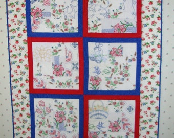 Lap Quilt from Vintage Embroidery--Free Shipping