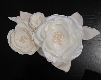 fabric flower applique for dress or sash with pearls - Made To Order - WEDDING BELLES
