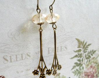 Long floral earrings, vintage inspired, faceted glass beads, dangle earrings, gift for her, womens gift