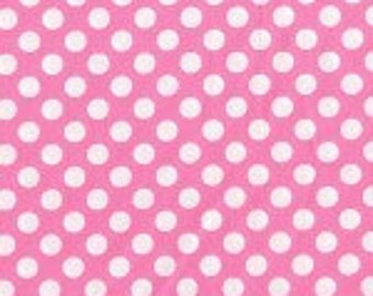 Cotton Pink Polka Dot Fabric by the Yard - Candy Ta Dot by Michael Miller