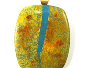 Polymer Clay Pendant - Fabulous Faux Collection - Boulder Turquoise Pendant Goldenrod