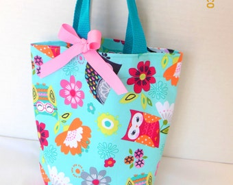 Owls and Flowers Purse/Gift Bag/Tote/Easter Basket