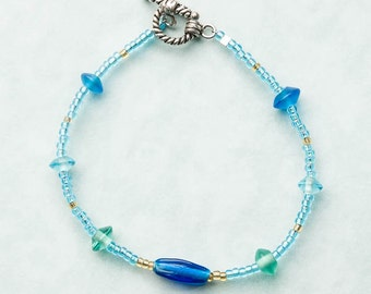 Aqua and blue bracelet,Bracelet,Jewelry,Blue bracelet,Summer jewelry