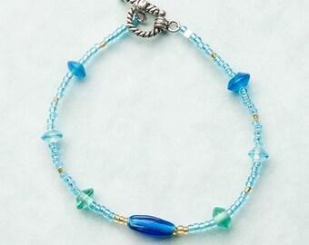 Aqua and blue bracelet, free shipping