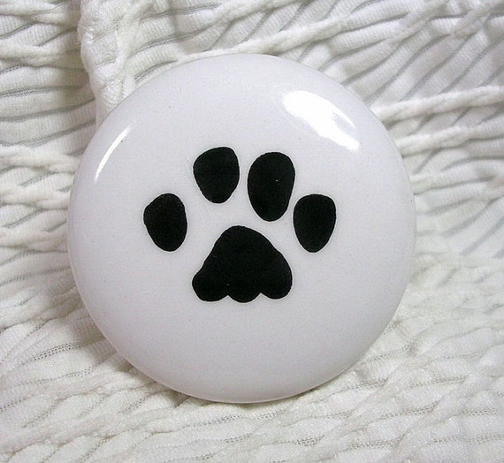 Items Similar To Cat Or Dog Paw Print Ceramic Drawer Knobs