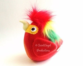 Stuffed Red Macaw Parrot Bird Plushie, READY TO SHIP