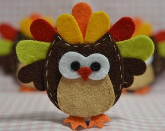 Set of 6pcs handmade felt Thanksgiving owls--chocolate (FT1008)