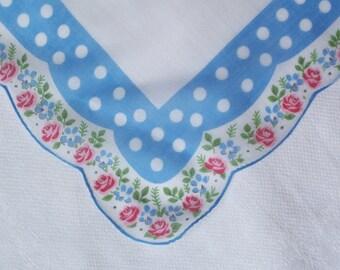 Vintage White Hanky with Polka Dots - Hankie Handkerchief