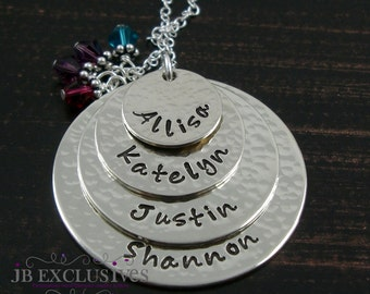 Personalized hand stamped mommy necklace - sterling silver - 4 layer baby name discs and birthstones