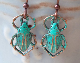 Scarab beetle earrings Egyptian copper animal bug earrings king scorpion blue green turquoise verdigris egypt steam punk steampunk victorian